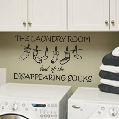 he laundry room land of the disappearing socks | wall art decal sticker | laundry room wall art decal sticker
