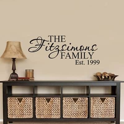 Personalised family name wall art decal sticker