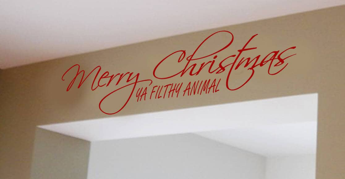 Merry Christmas ya filthy animal decal sticker