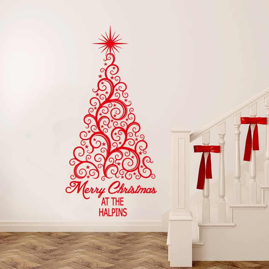 Christmas tree decal sticker, Merry Christmas personalised tree decal sticker, Christmas wall stickers