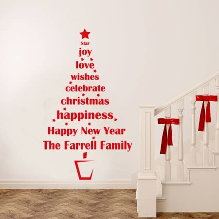 Christmas tree personalised decal sticker