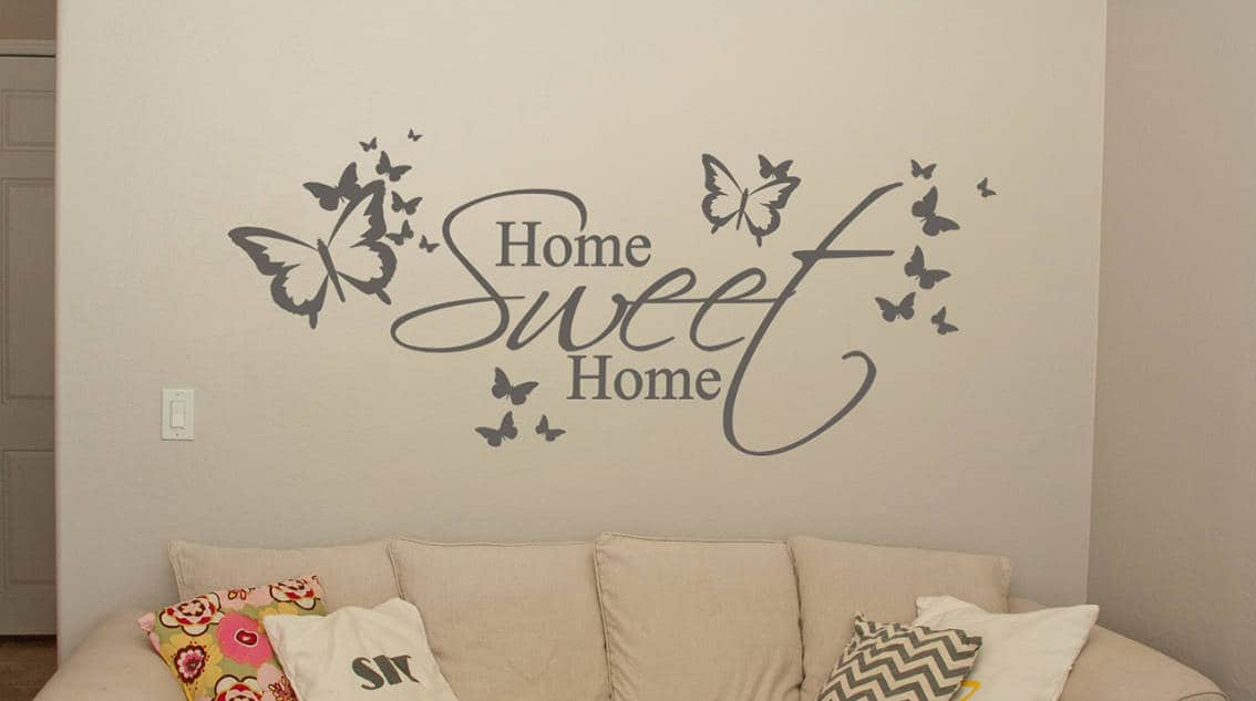 home sweet home butterfly wall decal | wall art decal sticker
