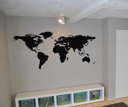 World map wall art decal