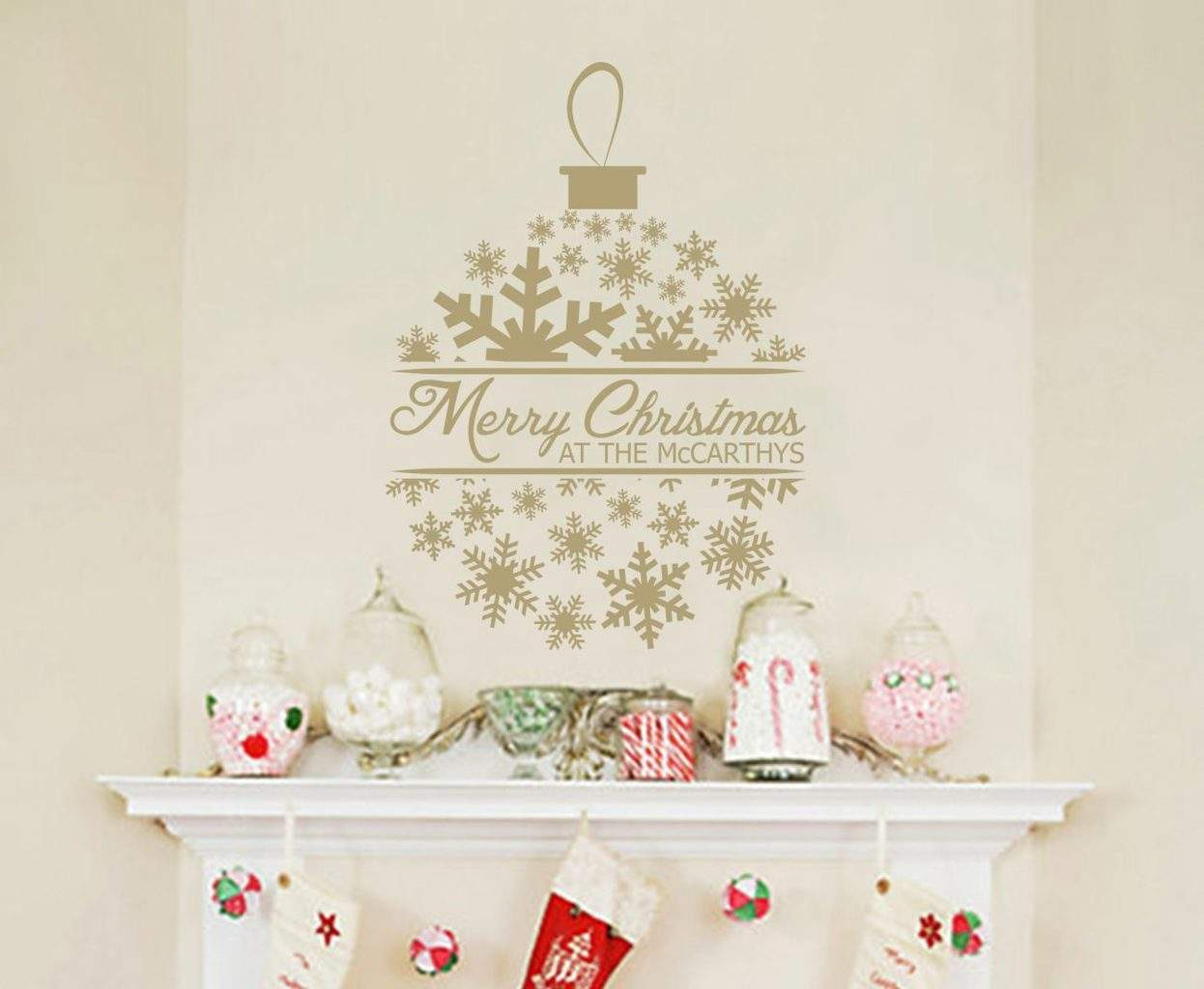 Merry Christmas personalised decoration decal sticker
