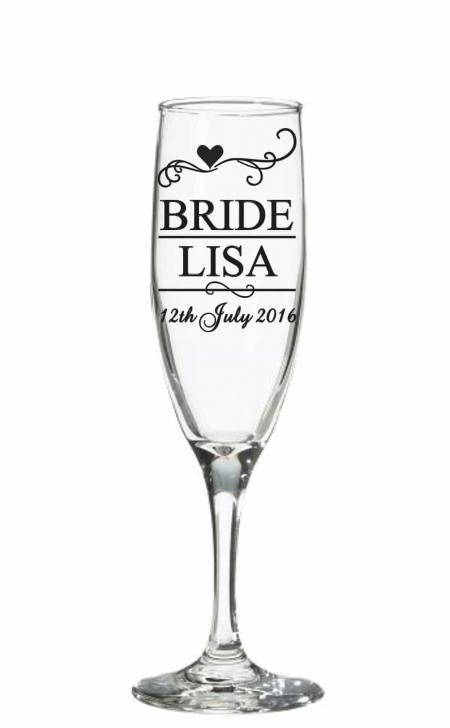 Wedding champagne glass decal sticker