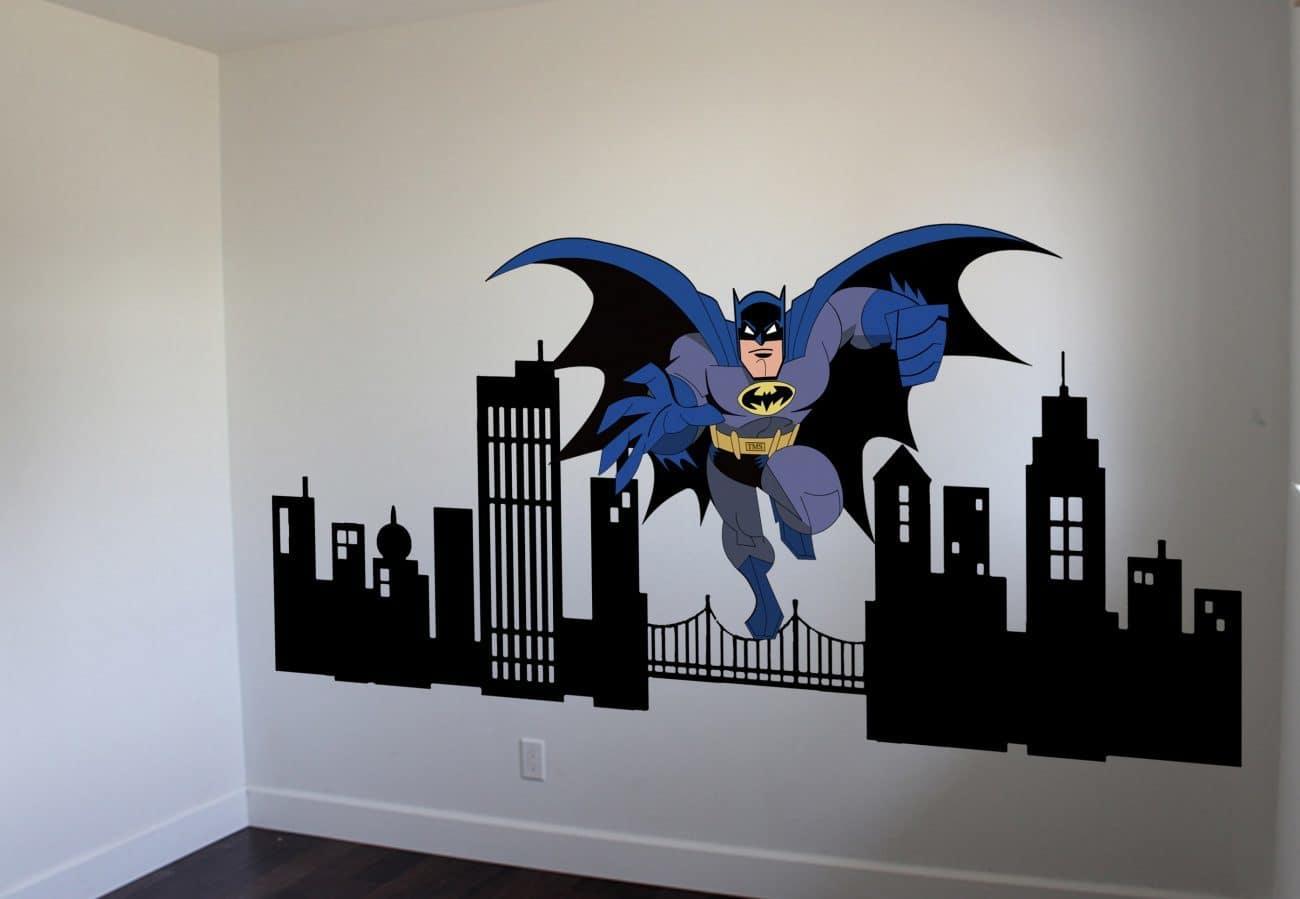 Batman cityscape wall decal graphic