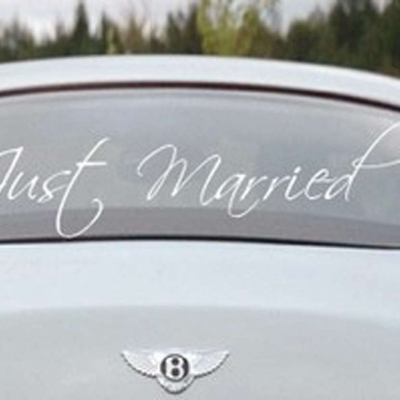 Just married window decal sticker