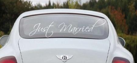Just married window decal sticker