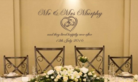 Wedding rings personalised wall decal sticker