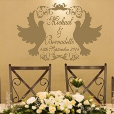 Wedding Doves personalised wall decal stickerWedding Doves personalised wall decal sticker