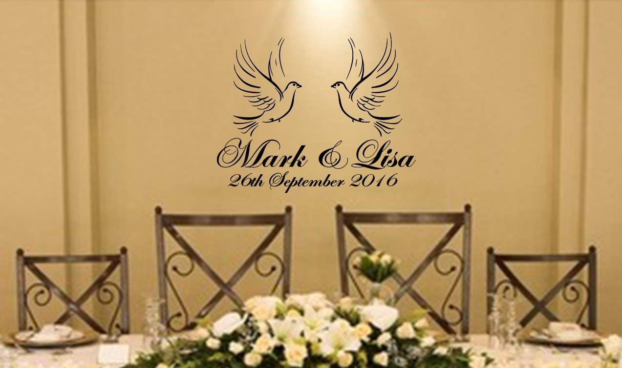 Wedding Doves personalised wall decal