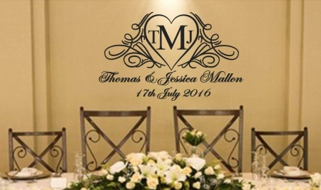 Wedding Collection decals Wedding heart personalised wall decal sticker
