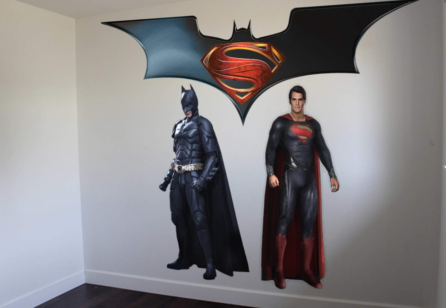 Superman vs batman wall sticker on ey wall decals for Batman wall mural decal