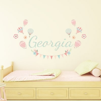 Personalised Hot-air Balloon Name Wall Decal Sticker