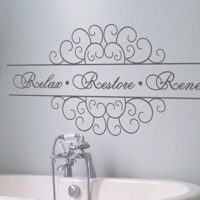 Relax Restore Renew wall art decal