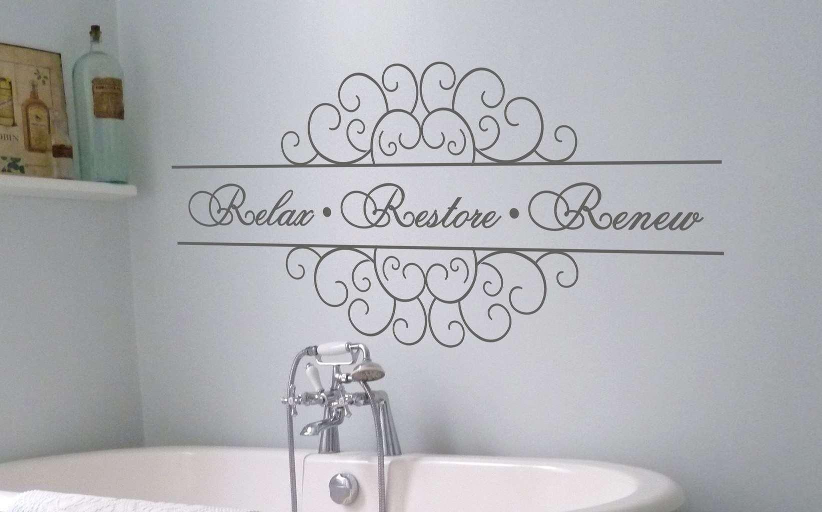 Relax Restore Renew Wall Art Decal Bathroom Decal