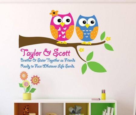 Personalised sibling owls decal