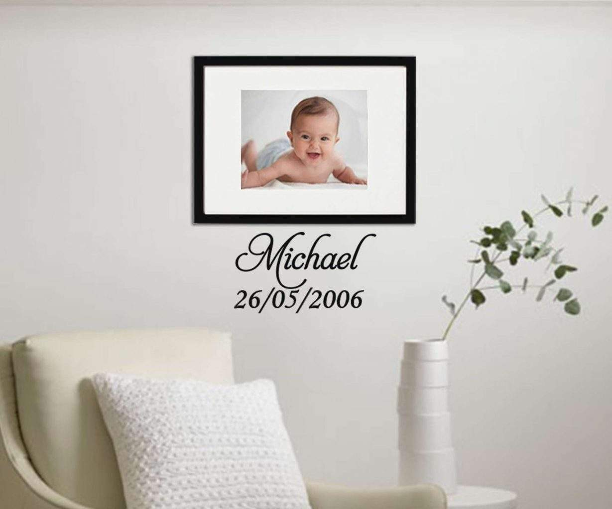 Personalised date of birth wall art decal sticker
