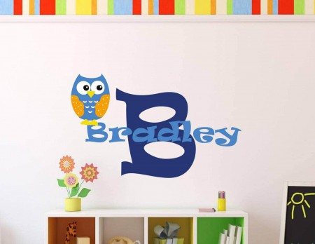 Personalised owl name wall decal