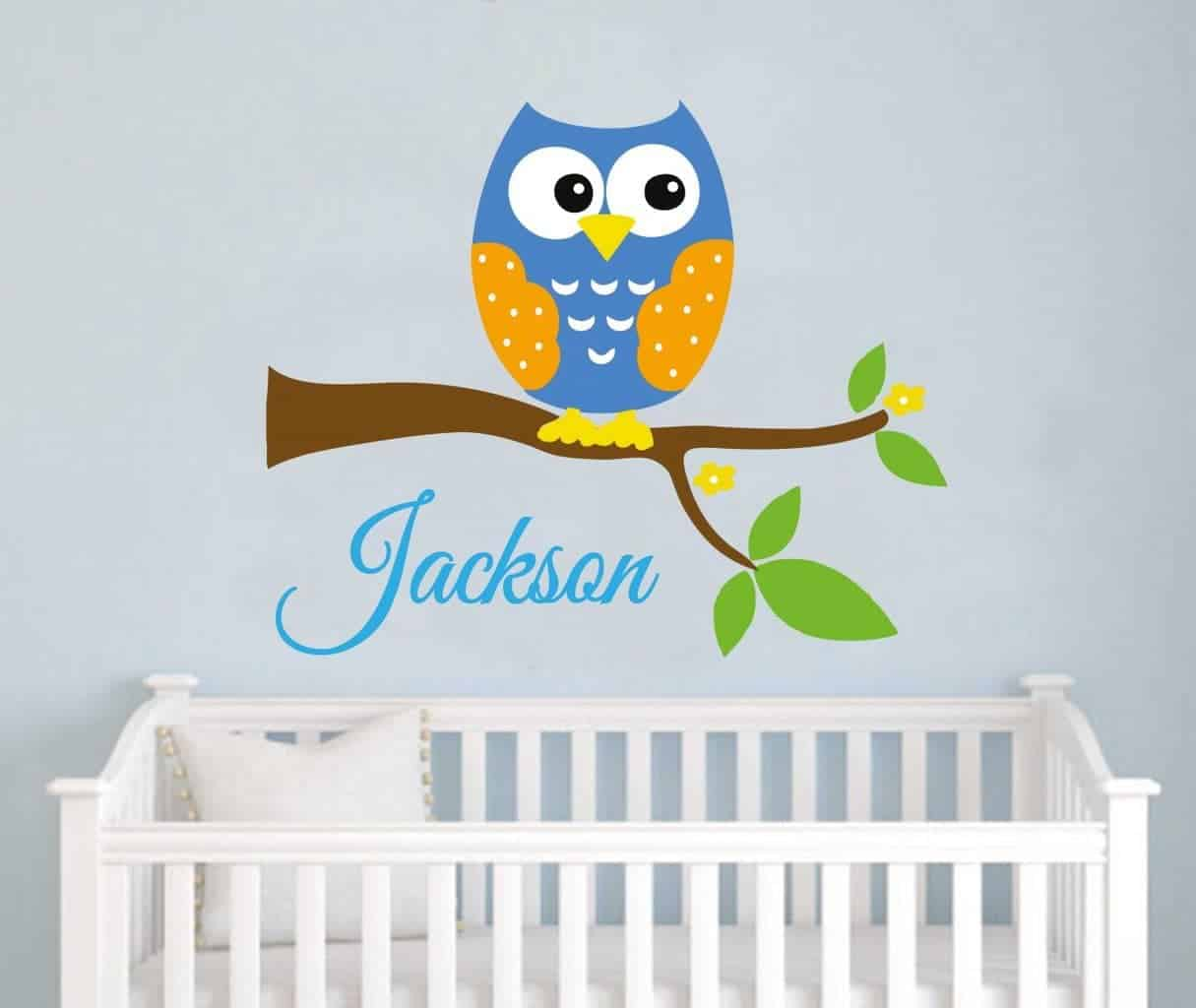 Personalised owl branch wall decal