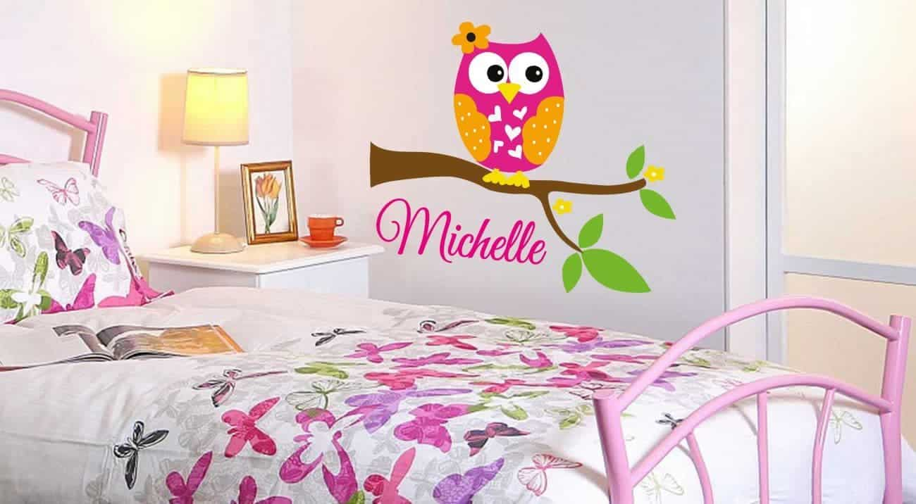 Personalised owl branch decal