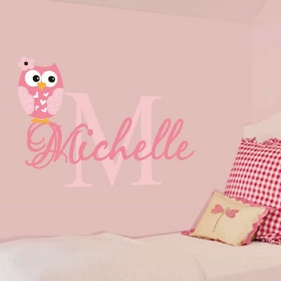Personalised owl name initial wall decal