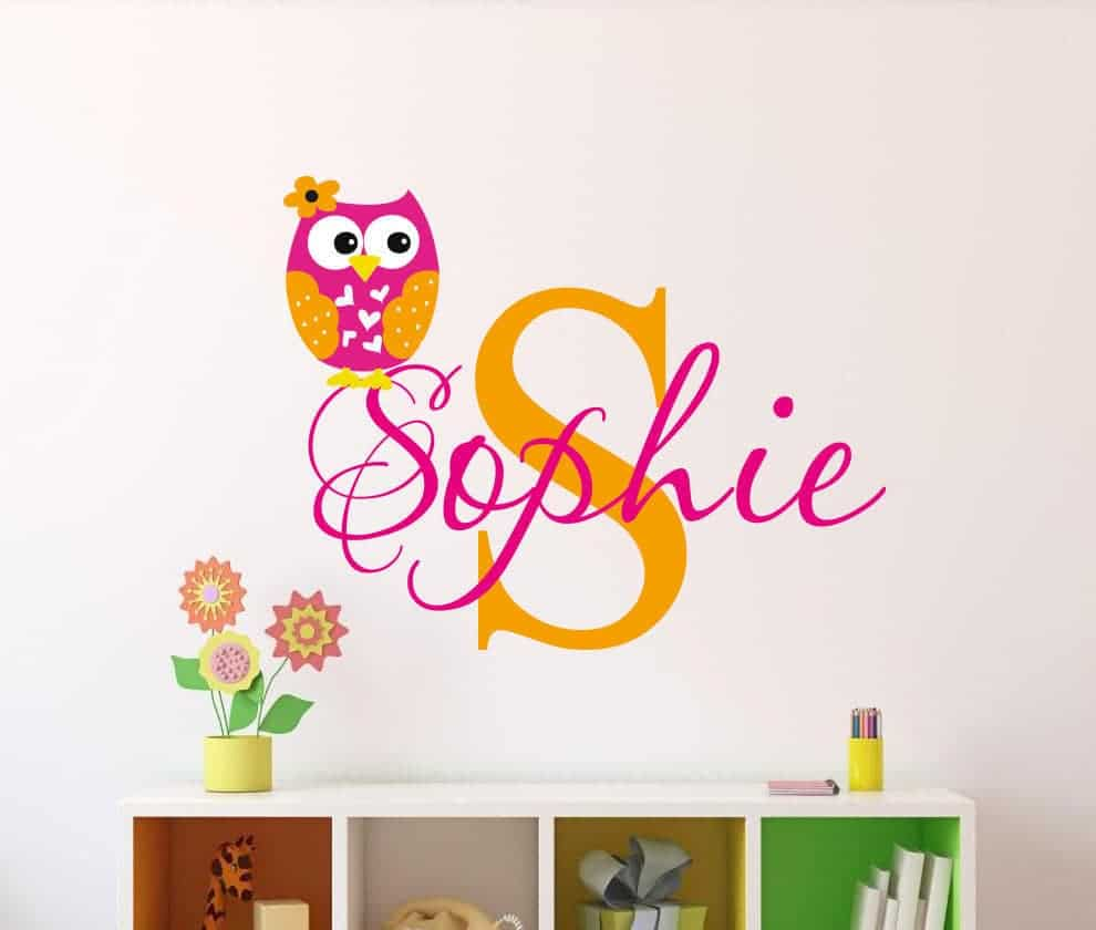 Personalised owl name decal