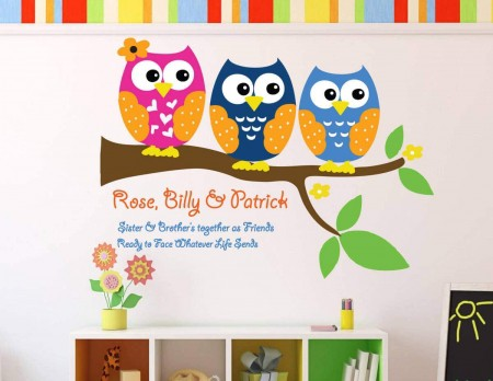 Personalised sibling owls decal sticker