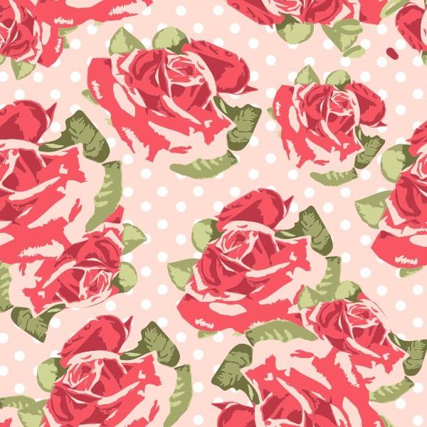 Polka Dot Pink Red Rose