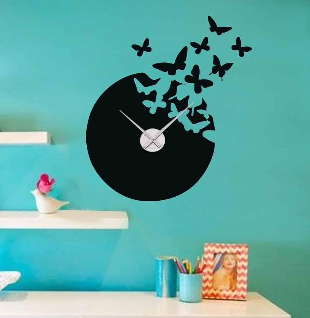 Wall Decal Sticker Clock Butterfly Wall Art Decal Clock - Wall decals clock
