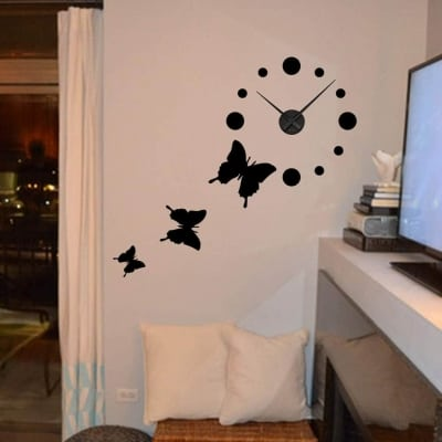 Wall decal sticker clock | butterflies
