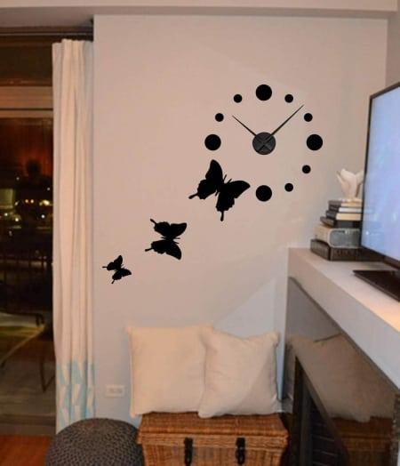 Wall decal sticker clock | butterflies