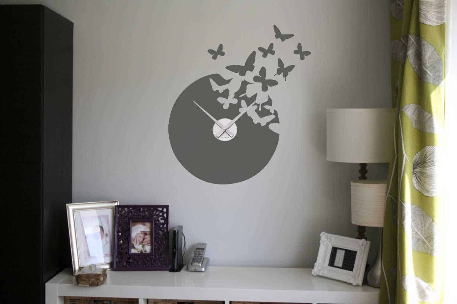 Wall decal sticker clock | butterfly