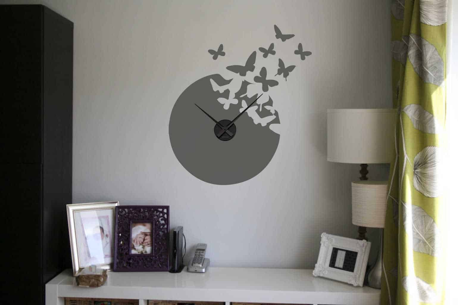 Wall decal sticker clock | butterfly