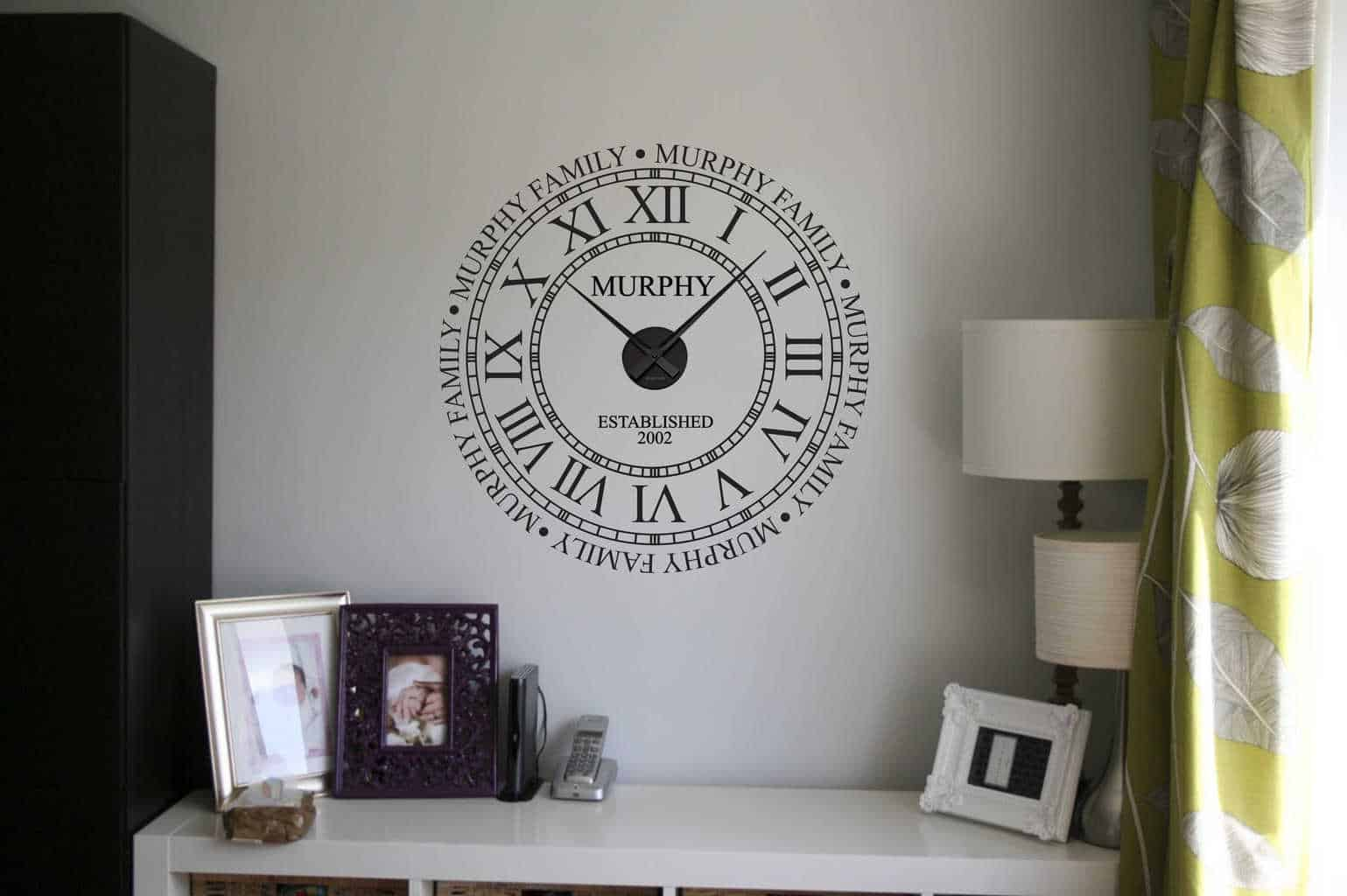 Personalised family name clock