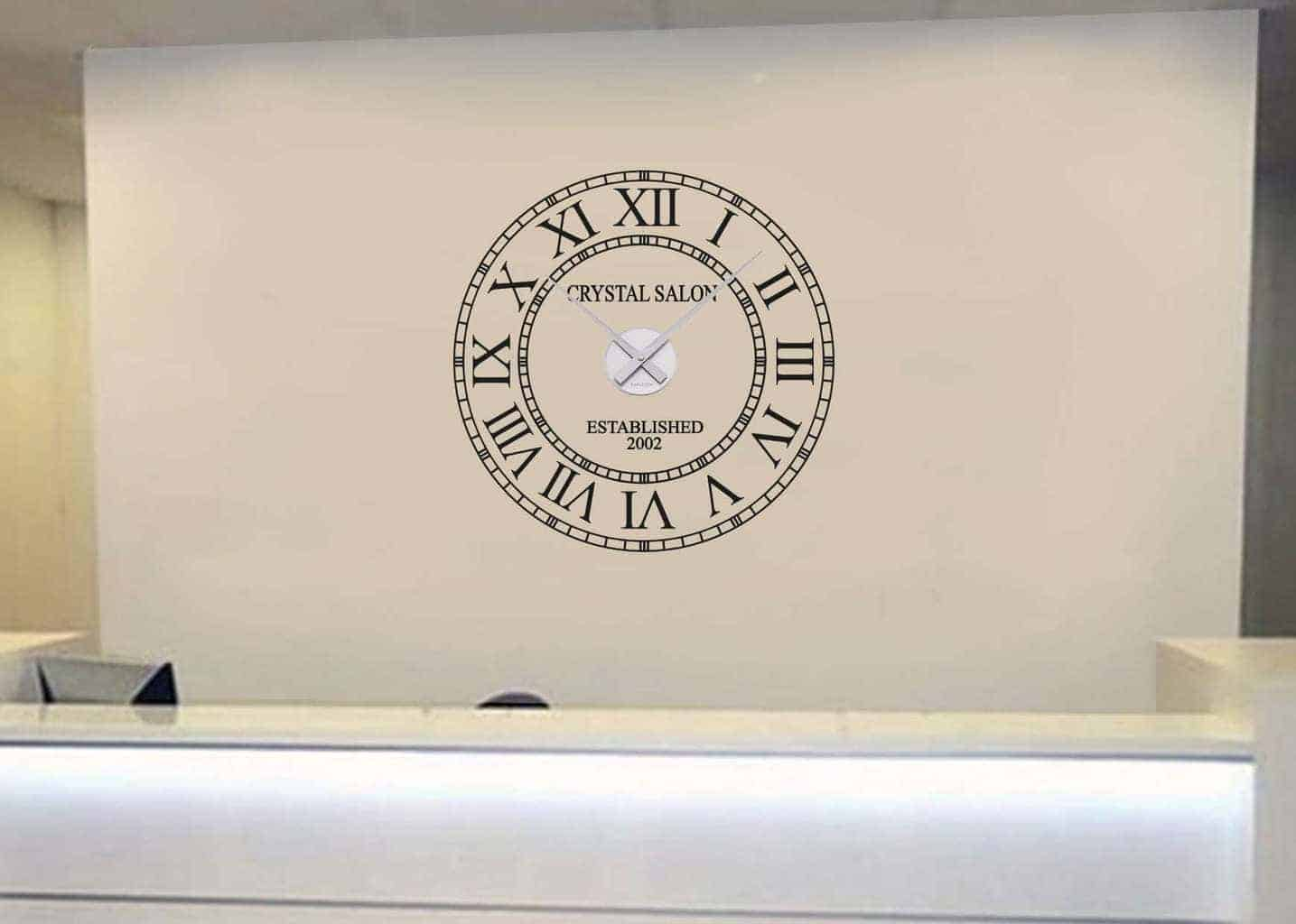 Business name wall clock wall decal sticker clock for Clock wall mural
