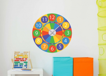 Wall decal sticker clock | Bright colour sections strokes