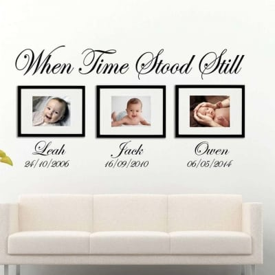 When Time Stood Still   date of birth wall art decal