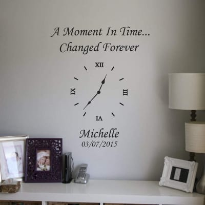 Memory clock | Date of birth clock | wall art decal stickers