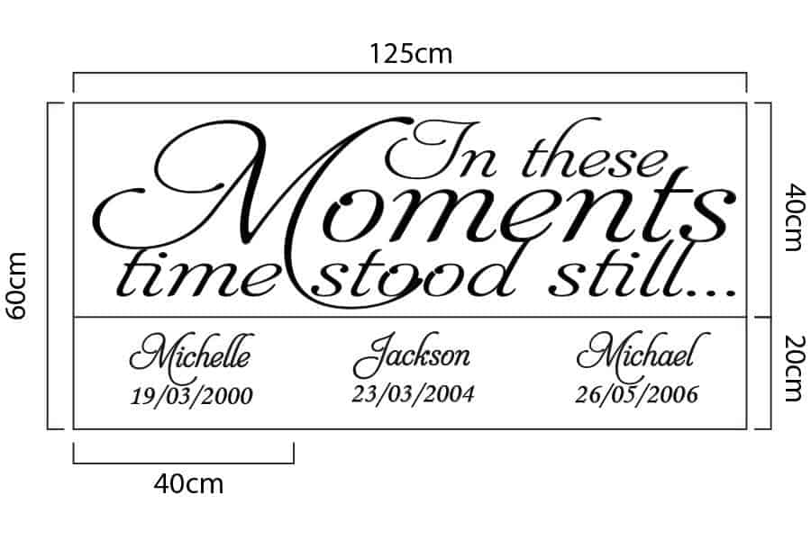 Time Stood Still | date of birth wall art decal