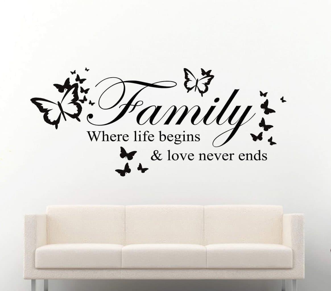 Family where life begins butterflies | wall decal sticker