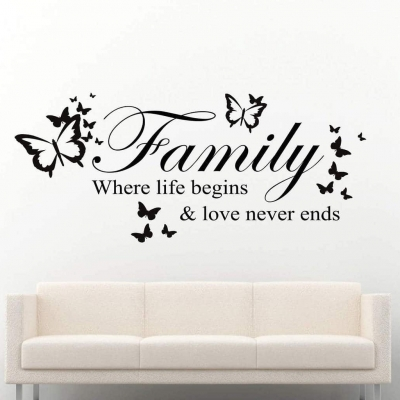Family where life begins butterflies | wall decal sticker