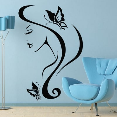 Hairstyle butterfly salon wall decal