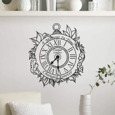 Memory clock | Date of birth clock vintage | wall art decal stickers