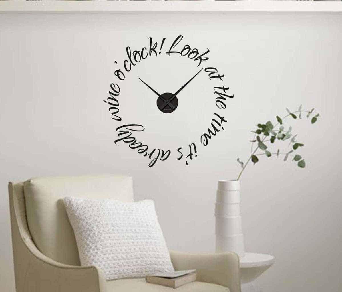 Wall Decal Of Wine OClock Wall Art Decal Clock - Wall decals clock