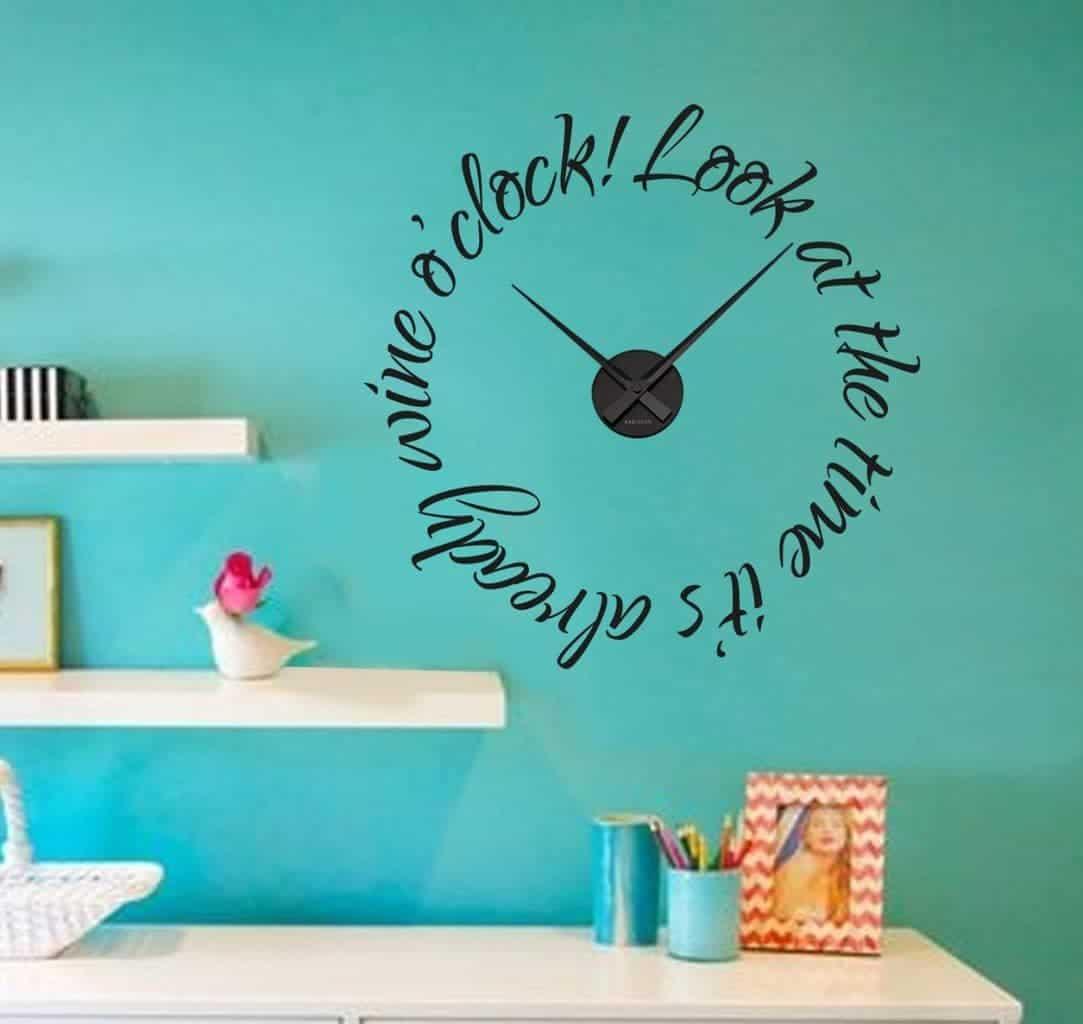 Wall decal sticker clock | wine o'clock