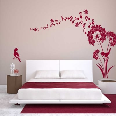Music flower wall decal