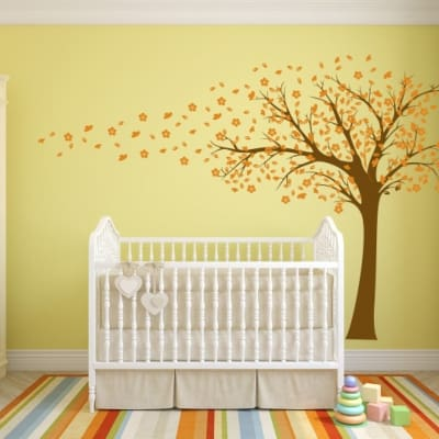 Blowing Tree flowers wall decal