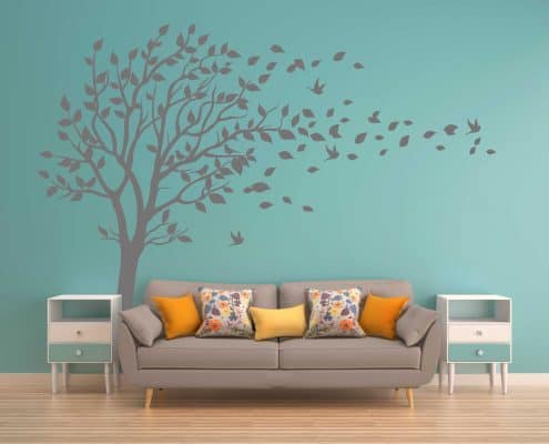 Blowing Tree birds flying wall decal