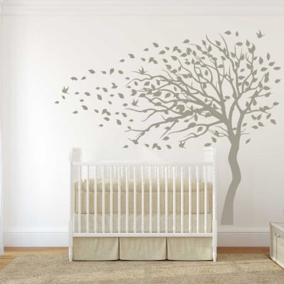 Blowing Tree flying birds wall decal sticker Blowing Tree flying birds wall decal sticker, wall decals, wall sticker, wall decals Ireland, tree wall decals